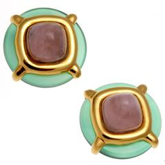 Cartier Aldo Cipullo Chalcedony Rose Quartz Gold Earrings
