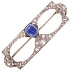 Belle Époque Sapphire Diamond Platinum Brooch