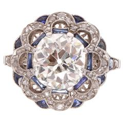 Old European Cut 2.27 Carat Sapphire Diamond Platinum Engagement Ring