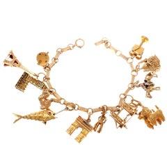 European Theme Gold Charm Bracelet