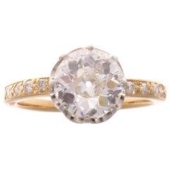 1.69 Carat GIA Certified J VS1 Diamond Gold Engagement Ring