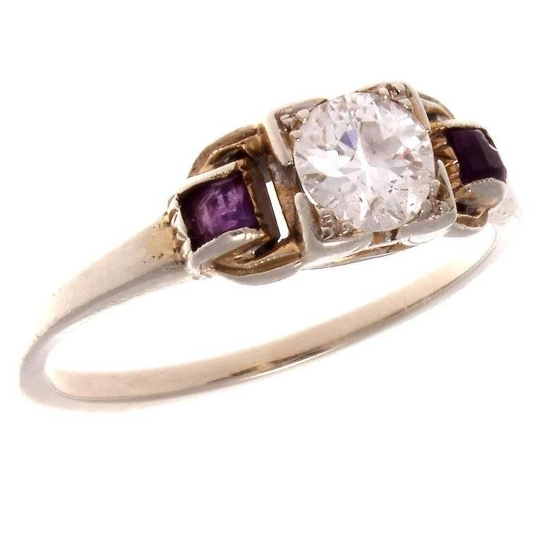 deco amethyst gold engagement ring for sale at 1stdibs