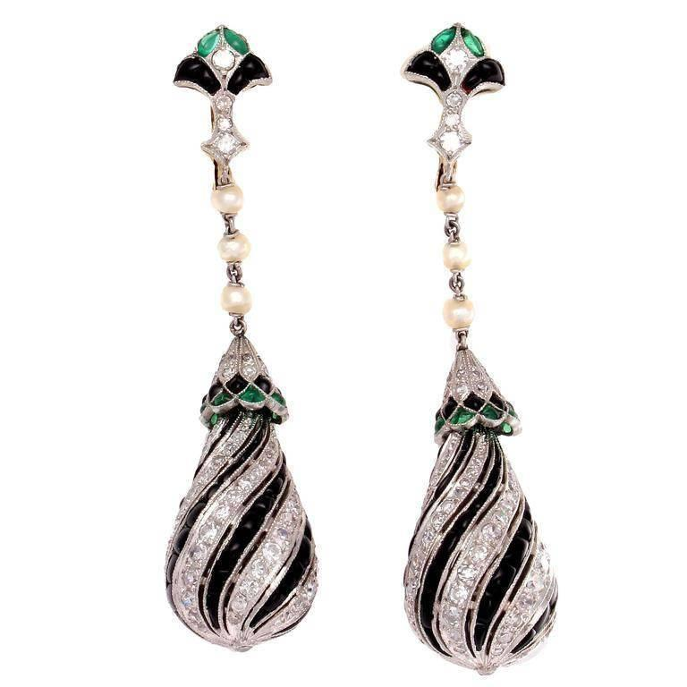 Onyx Diamond Emerald Platinum Earrings
