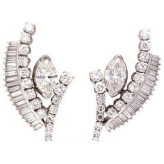1950s Retro Diamond Platinum Earrings