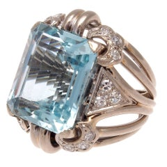 Retro 22 Carat Aquamarine Diamond Gold Cocktail Ring