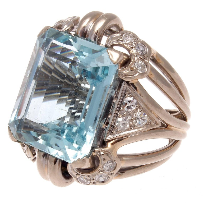 Retro 22 Carat Aquamarine Diamond Gold Cocktail Ring
