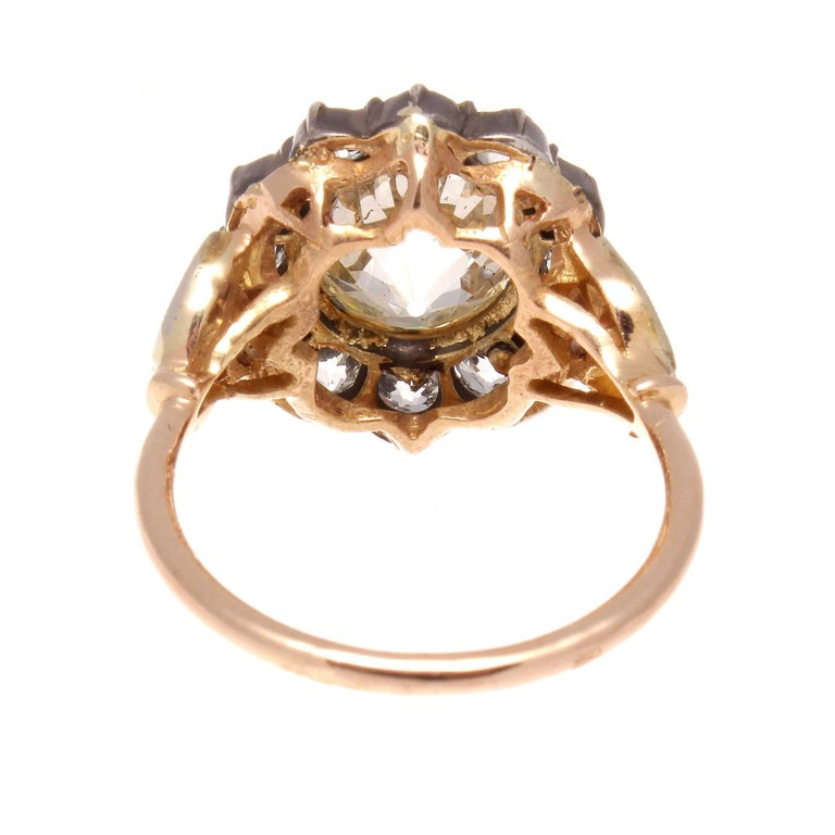 Women's Victorian 2.77 Carat Old European Cut Diamond Gold Cluster Ring For Sale