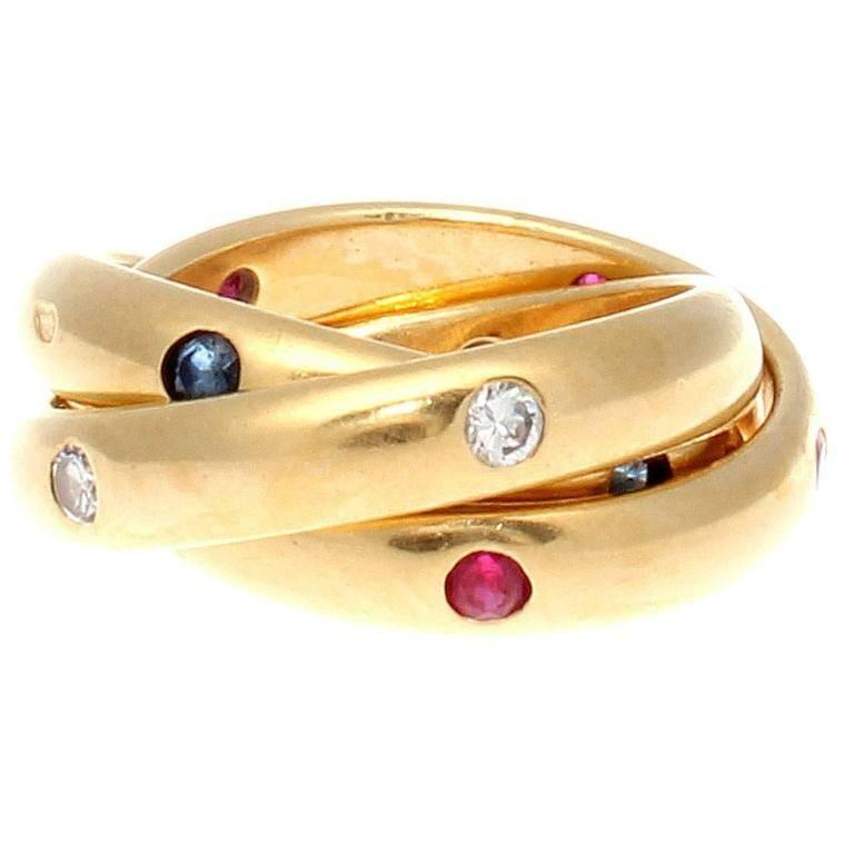 Cartier Trinity Ruby Sapphire Diamond Gold Ring For Sale