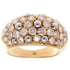 Cartier Diamond Hematite Gold Dome Ring