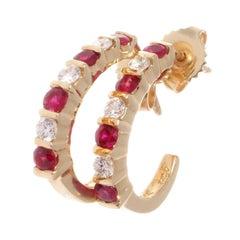 1960s Ruby Diamond Gold Earrings