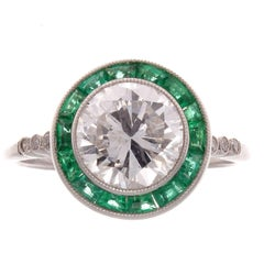 1.88 Carat Diamond Emerald Platinum Ring
