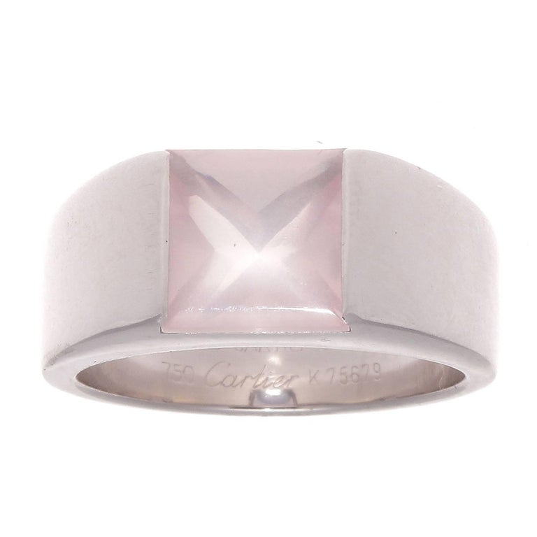 Cartier Pink Quartz Gold Tank Ring