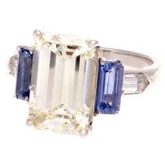 5.14 Carat Emerald Cut Diamond Sapphire Platinum Ring