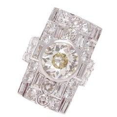 French Art Deco 3.82 Carat Diamond Platinum Ring