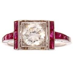 Brilliant Cut 0.86 Carat Diamond Ruby Platinum Engagement Ring