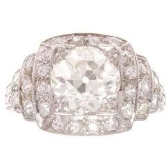 Art Deco 1.92 Carat Diamond Platinum Engagement Ring