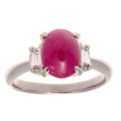2.74 Carat Cabochon Ruby Diamond Platinum Ring