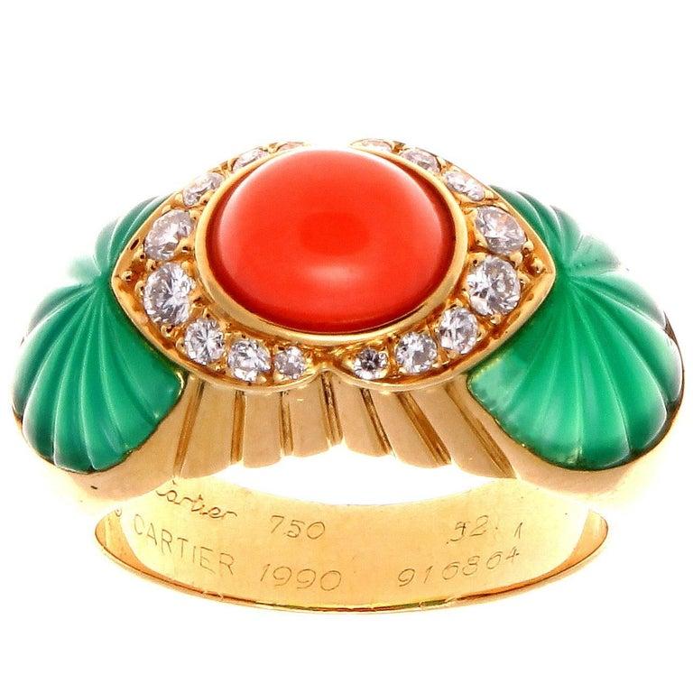 Cartier Coral Chrysophrase Diamond Gold Ring