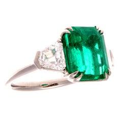 5.04 Carat Colombian Emerald Diamond Platinum Ring