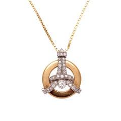 Eiffel Tower Diamond Gold Necklace
