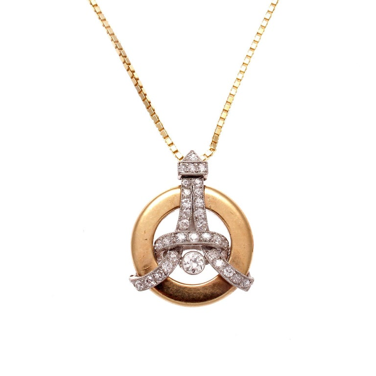 Eiffel Tower Diamond Gold Necklace