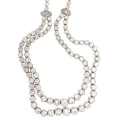 Double Stranded Diamond Platinum Necklace