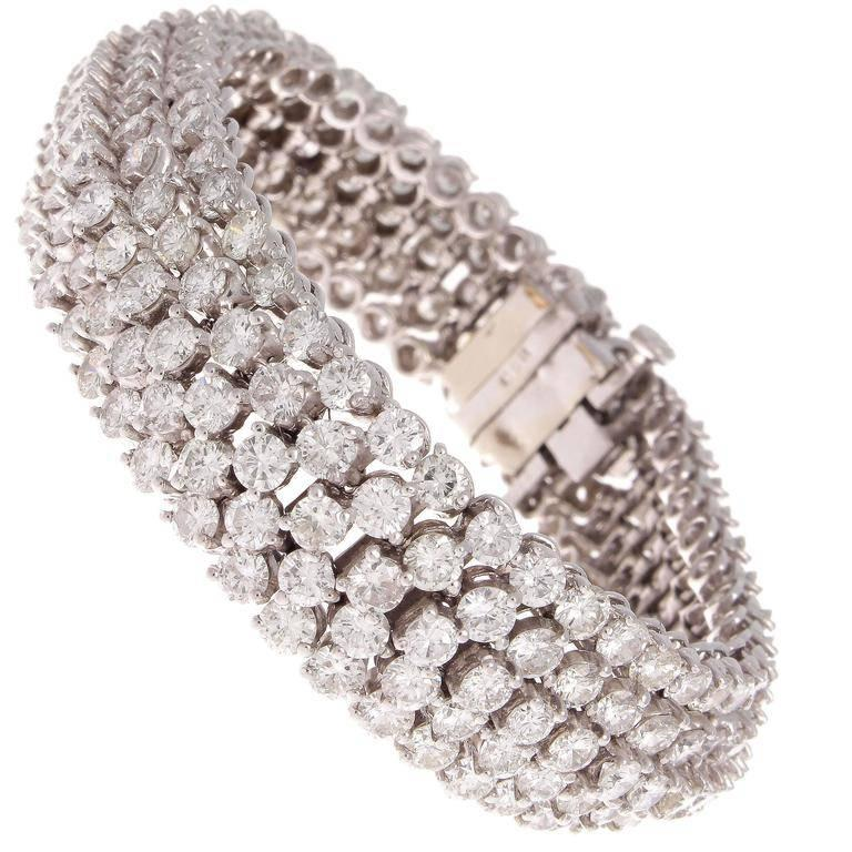 Approximately 24 Carat Diamond Gold Bracelet For Sale