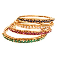 Diamond Ruby Sapphire Emerald Stacking Bangle Gold Bracelets