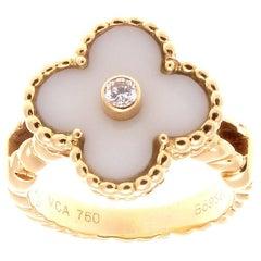 Van Cleef & Arpels Alhambra White Coral Diamond Gold Ring