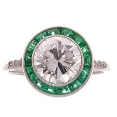 1.88 Carat Diamond Emerald Platinum Ring