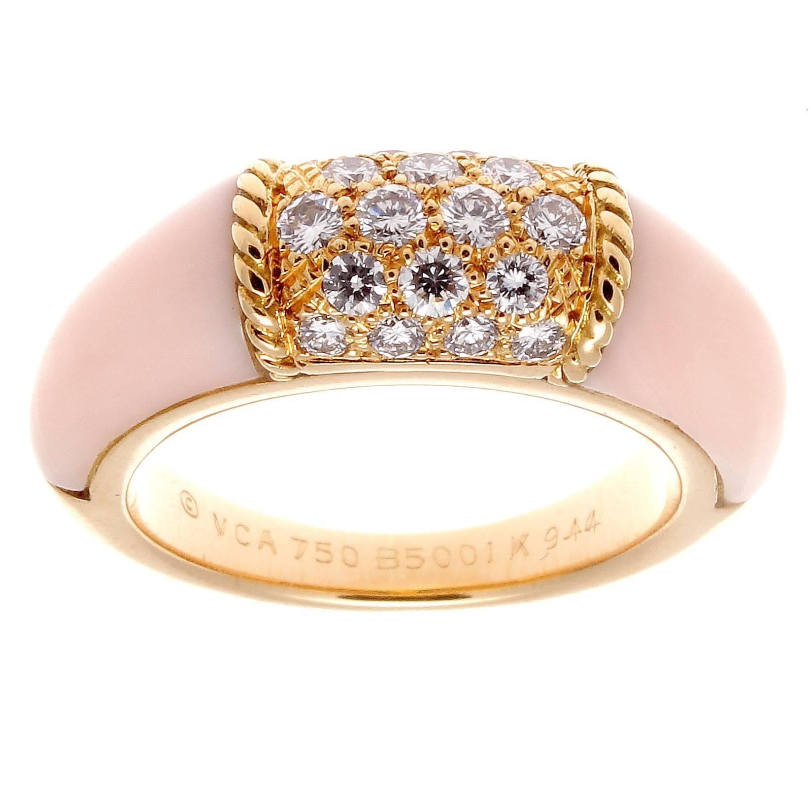 Van Cleef and Arpels Angel Skin Coral Diamond Gold Philippine Ring