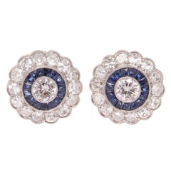 Diamond Sapphire Platinum Cluster Earrings