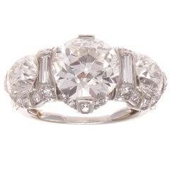 GIA 3.62 Old European Cut Diamond Platinum Three-Stone Engagement Ring