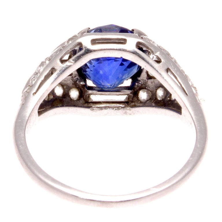 Women's Art Deco Sapphire Diamond Platinum Engagement Ring For Sale
