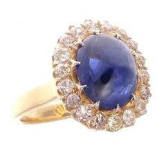 Natural 6 Carat Cabochon Sapphire Diamond Gold Ring