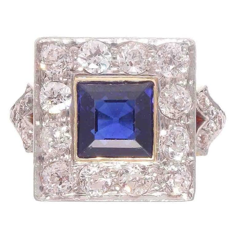 Sapphire Diamond Platinum Gold Ring