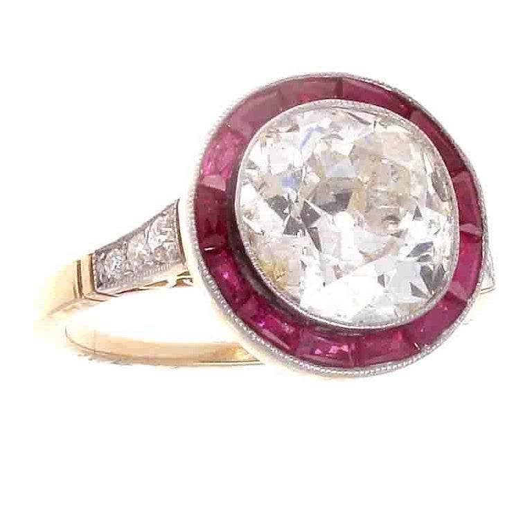 Art Deco 2.80 Carat Old European Cut Diamond Ruby Platinum Engagement Ring