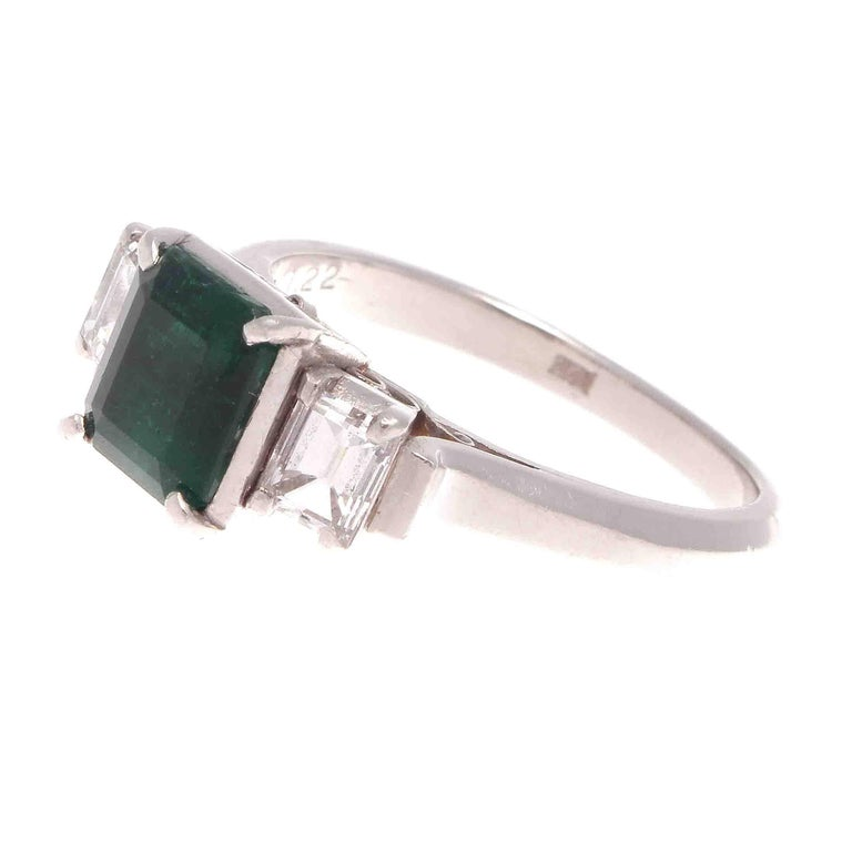 Natural 1.22 Carat Emerald Diamond Platinum Engagement Ring