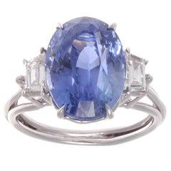 Natural 9.59 Carat Ceylon Sapphire Diamond Platinum Ring