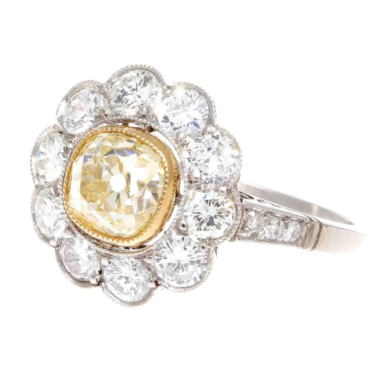 Fancy Yellow Diamond Platinum Cluster Engagement Ring