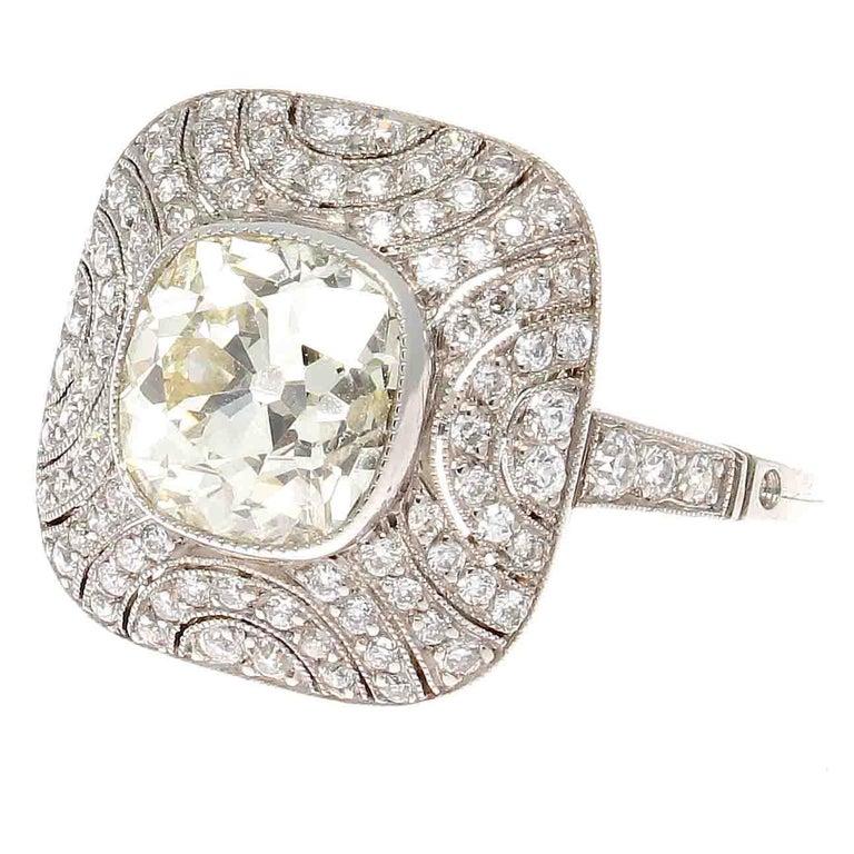 2.40 Carat Old Mine Cut Diamond Platinum Ring