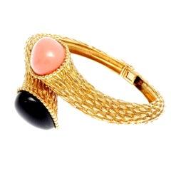 Boucheron Serpent Boheme Coral Onyx Gold Bracelet