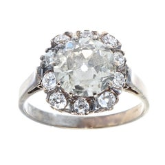 Victorian 2.25 Carat Diamond Gold and Silver Engagement Ring