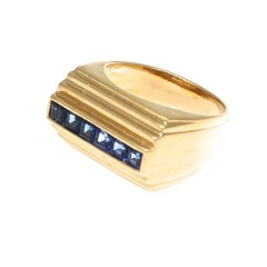 French Modernist Sapphire Gold Ring