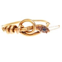Victorian Sapphire Gold Snake Bracelet