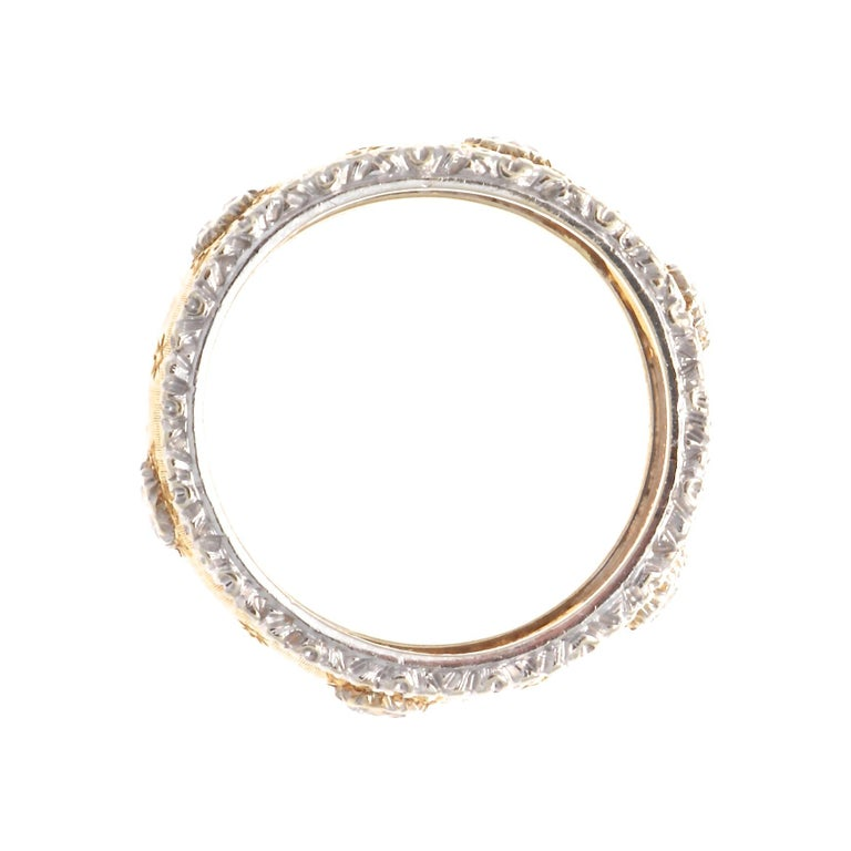 Buccellati Diamond Gold Band In Excellent Condition For Sale In Beverly Hills, CA
