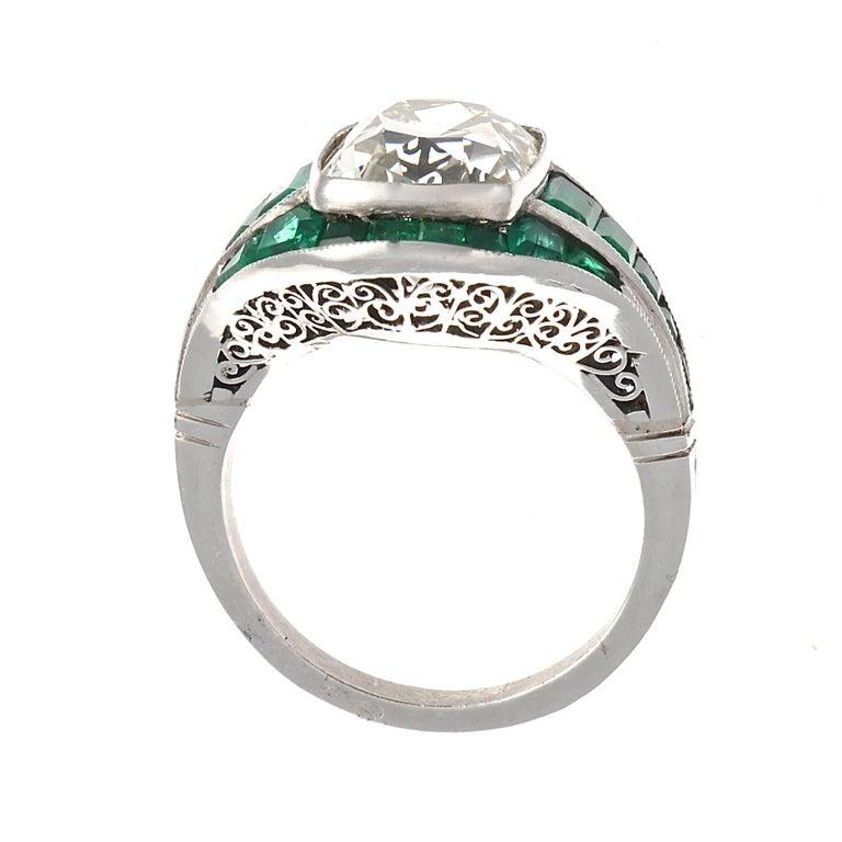 Art Deco 5.08 Old Mine Cut Diamond Emerald Platinum Ring For Sale
