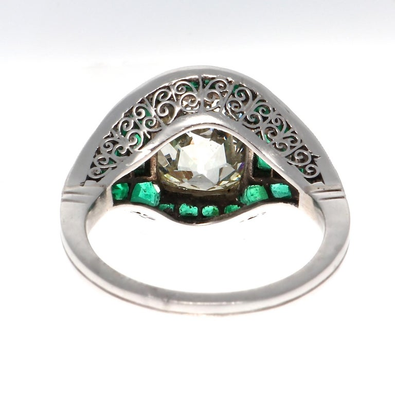 5.08 Old Mine Cut Diamond Emerald Platinum Ring In New Condition For Sale In Beverly Hills, CA