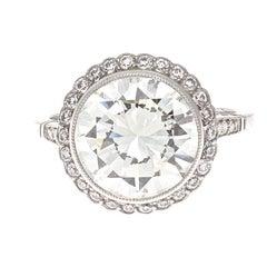 4.70 Carat Round Brilliant Cut Diamond Platinum Engagement Ring