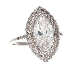 Art Deco Revival 2.39 Carat GIA Marquise Diamond Platinum Engagement Ring